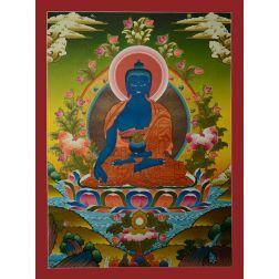 "30""x 22.25"" Medicine Buddha Thangka Painting"