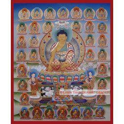 "29"" x 24"" 35 Buddhas Thangka Painting"