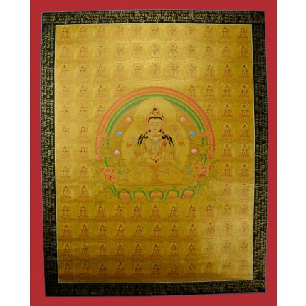 "108  Gold Chenrezig Thangka Painting - 34.75""x27"""