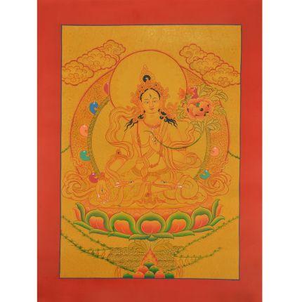 """Gold 16.5"""" x 12.5"""" White Tara Thangka Painting"""