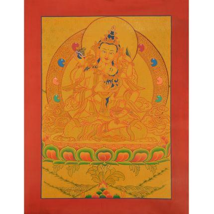 "Gold 16"" x 12.5"" Vajrasattva Shakti Thangka Painting"