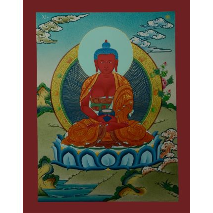 "17.25""x13.5"" Amitabha Buddha Thangka Painting"