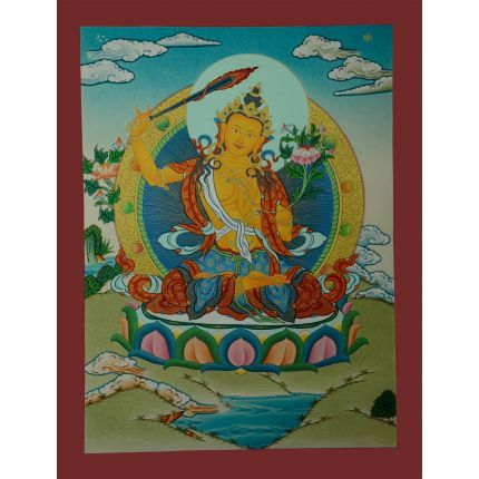 """17.25""""x13"""" Manjushiri Thankga Painting"""