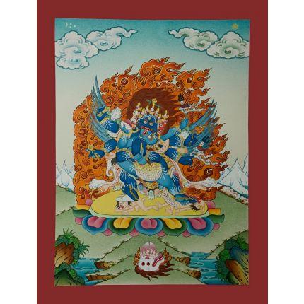 """17.25""""x13.25"""" Vajrakilaya Thangka Painting"""