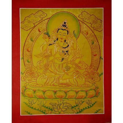 "17.5""x13.5"" Gold  Vajrasattva Shakti Thangka Painting"