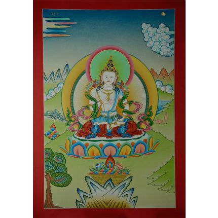 "23.5"" X 16.25"" Vajrasattva Thangka Painting"