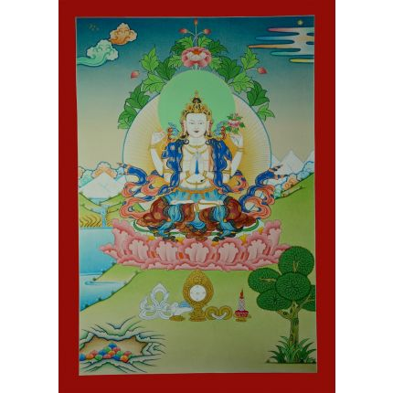"23.25""x16.5"" Chenrezig Thanka Painting"