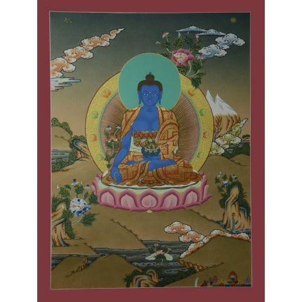 "24.5""x18.5"" Medicine Buddha Thangka Painting"