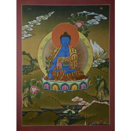 "24.25""x18.5"" Medicine Buddha Thangka Painting"