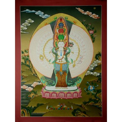 "24.5""x18.5""  1000 Armed Avalokiteshvara Thankga Painting"