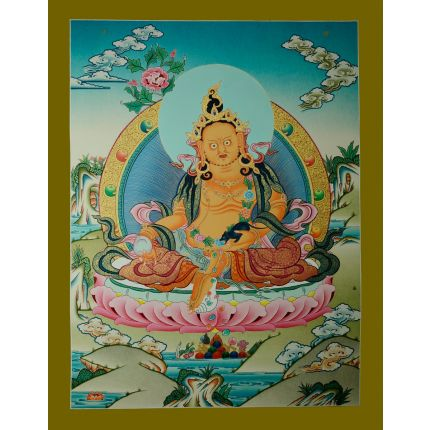 "26.75"" x 20.5"" Yellow Jambhala Thankga Painting"