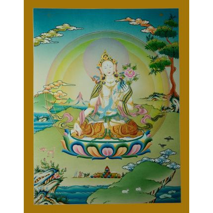 "26""x20.5""  White Tara Thangka Painting"