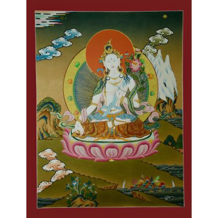 "24.5""x18.75""White Tara Thangka Painting"