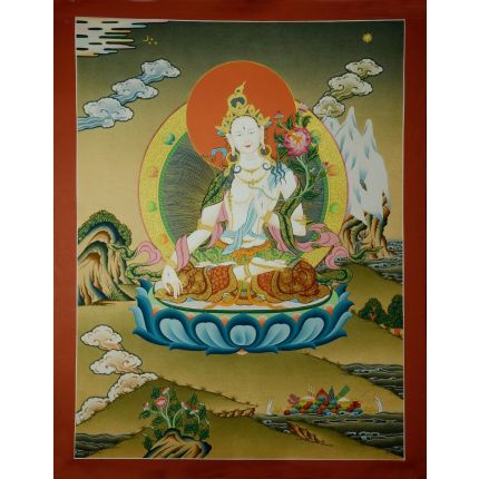 "24.5""x19"" White Tara Thangka Painting"