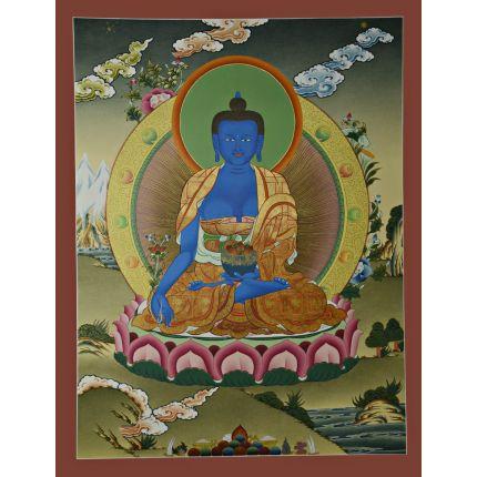 "26.25""x20.5"" Medicine Buddha Thangka Painting"