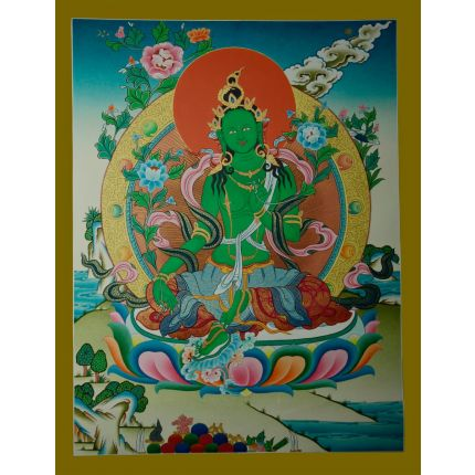 "26.5""x20.5"" Green Tara Thangka Painting"