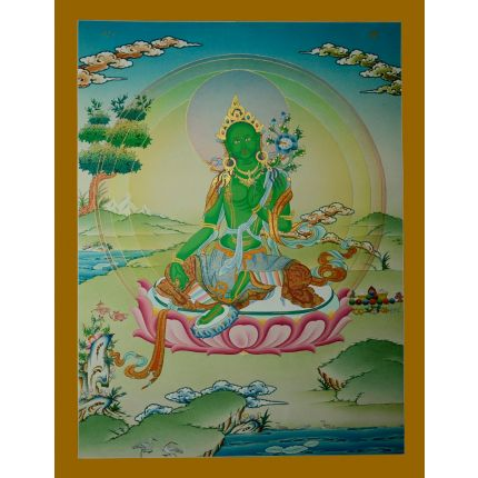 "26.5""x20.25"" Green Tara Thangka Painting"