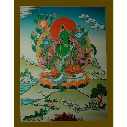 "26.75""x20.75"" Green Tara Thangka Painting"