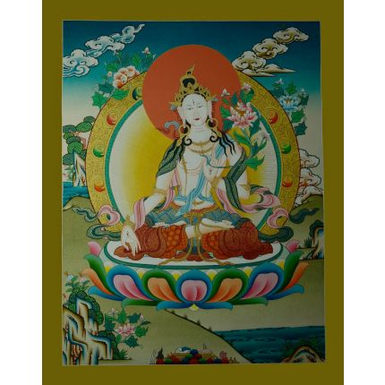 "26.25""x20.5""  White Tara Thangka Painting"