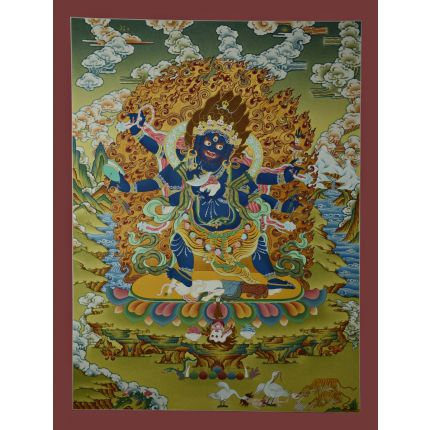 "29.5""x22.5"" Black Mahakala Thangka Painting"