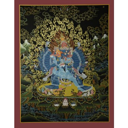 "29.75""x23"" Yamantaka with Consort Thangka Painting"