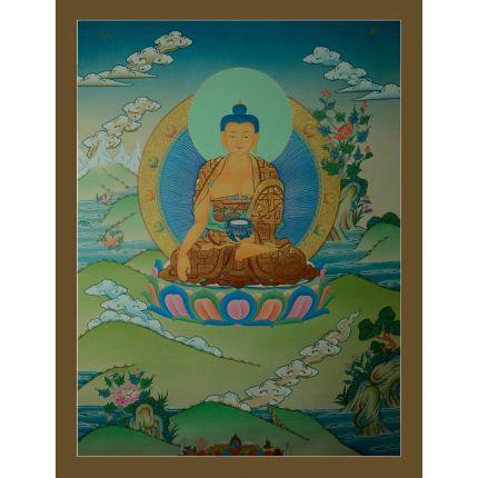 """29.75""""x22.75"""" Shakyamuni Buddha Thangka Painting"""