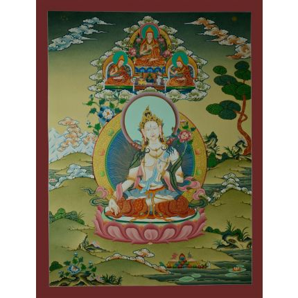 "29.5""x22.55""  White Tara Thangka Painting"