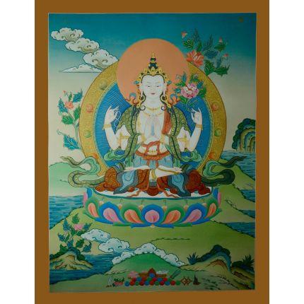 """29.75""""x23"""" Chenrezig Thangka Painting"""