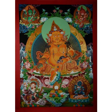 "30.75""x22.5"" Yellow Jambhala Thankga Painting"