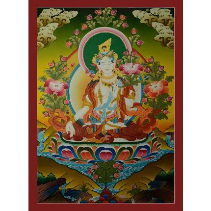 "31""x22.5"" White Tara Thangka Painting"