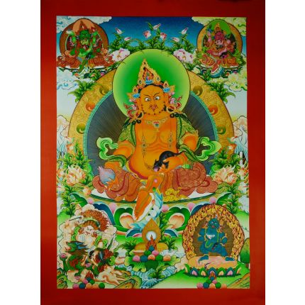 "31.75""x23.5"" Yellow Jambhala Thanka Painting"