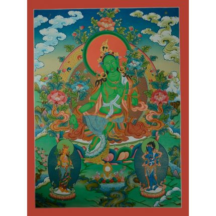 "32.25""X24.5"" Green Tara Thangka Painting"