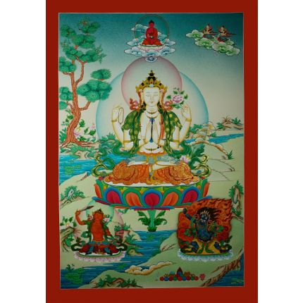 """32.5""""x22.75"""" Chenrezig Thangka Painting"""