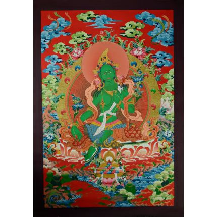 "32.75""x22.5"" Green Tara Thangka Painting"