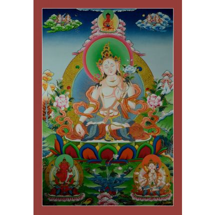 "32.5"" x 22.5""    White Tara Thangka Painting"