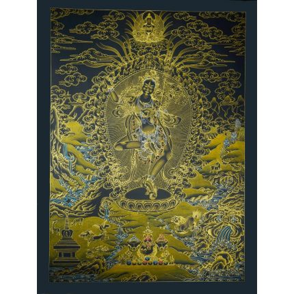 "32.5""x24.5"" Black and Gold Vajravarahi  Thangka Painting"