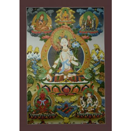 "33.5""x23.25"" White Tara Thangka Painting"