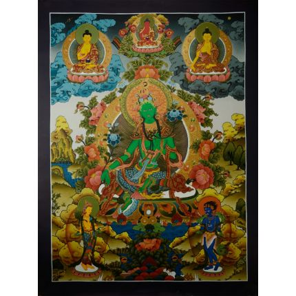 "33""x24.75"" Green Tara Thangka Painting"