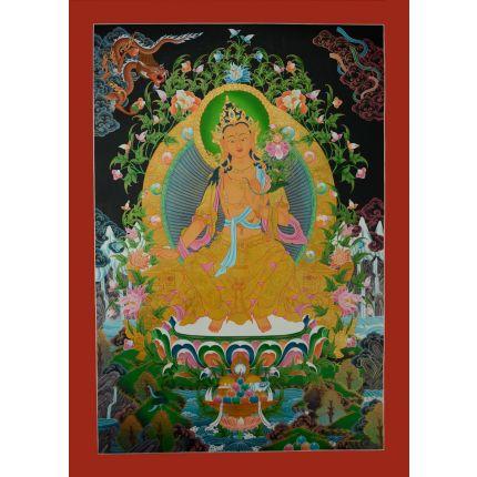 """Maitreya Buddha Thangka Painting - 35.50""""x24.75"""""""