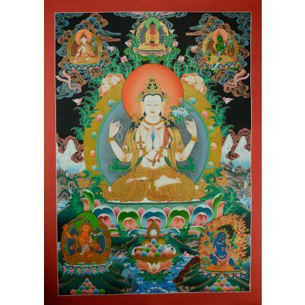 """Chenrezig Thangka Painting  - 33.5""""x24"""""""
