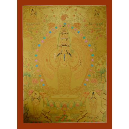 "Gold Avalokiteshvara Thankga Painting - 33.75""x24.75"""