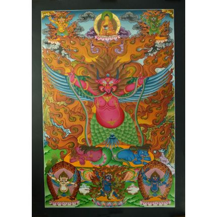 "33.25"" x 23"" Garuda Thankga Painting"