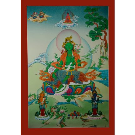 "33""x23"" Green Tara Thangka Painting"