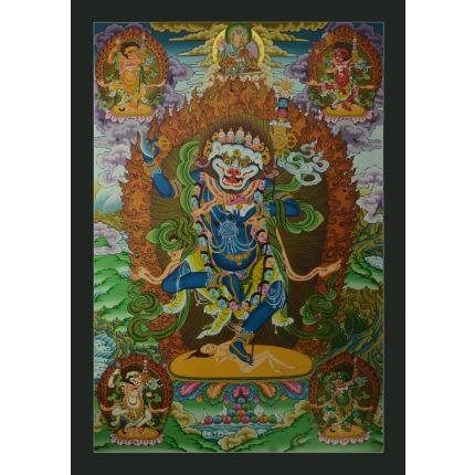 """33""""x 23.25"""" Simhamukha Thangka Painting"""