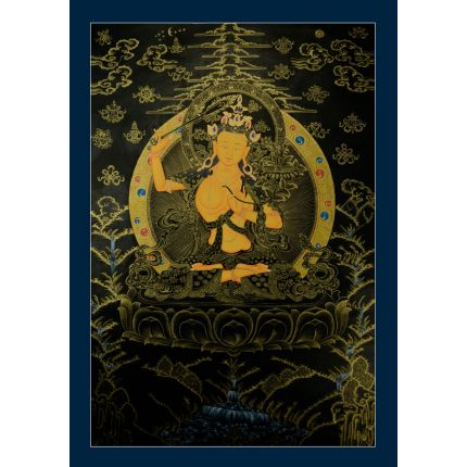 "34""x24.25""  Black and Gold Manjushiri Thankga Painting"