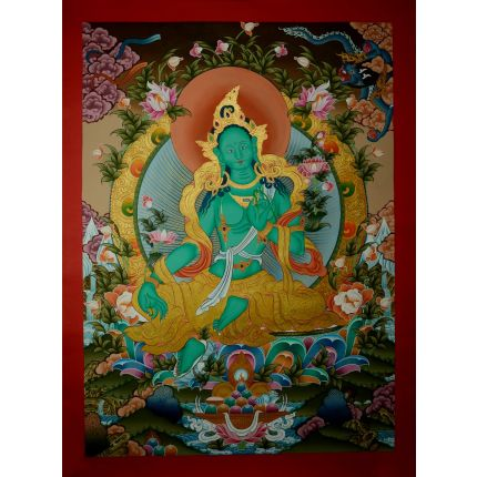 "34.5""x25"" Green Tara Thangka Painting"