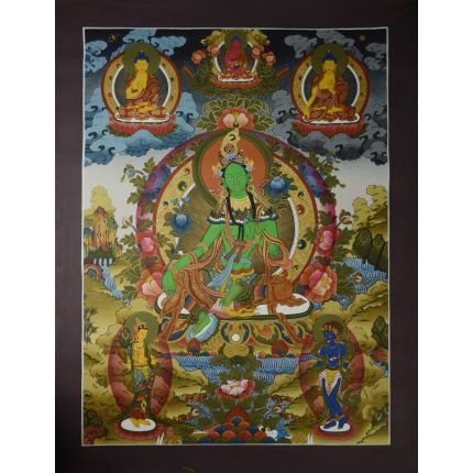 "34""x26.25"" Green Tara Thangka Painting"