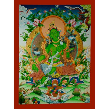 "34.5""X 26"" Green Tara Thanka Painting"