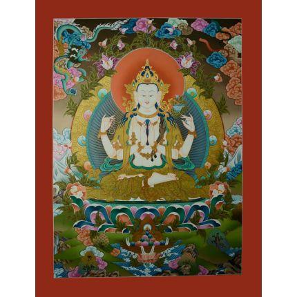 """35""""x26.5"""" Chenrezig Thangka Painting"""