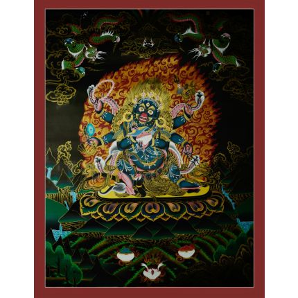 "35""x27"" Black Mahakala Thanka Painting"